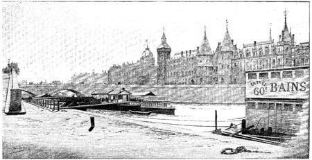 pont: Pont au Change, Commercial Court and Court House, vintage engraved illustration. Paris - Auguste VITU – 1890. Stock Photo