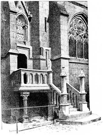 dame: Notre Dame, Stairs vestries, vintage engraved illustration. Paris - Auguste VITU – 1890.