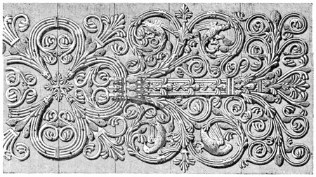 hinges: Forge hinges of the door of the Virgin, vintage engraved illustration. Paris - Auguste VITU – 1890. Stock Photo