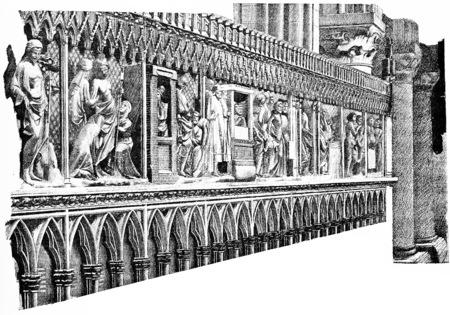 coro: La siller�a del coro, cosecha ilustraci�n grabada. Par�s - Auguste VITU - 1890. Foto de archivo