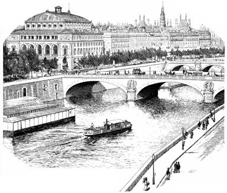 seine: The Seine for the Quai de lHorloge, vintage engraved illustration. Paris - Auguste VITU – 1890.