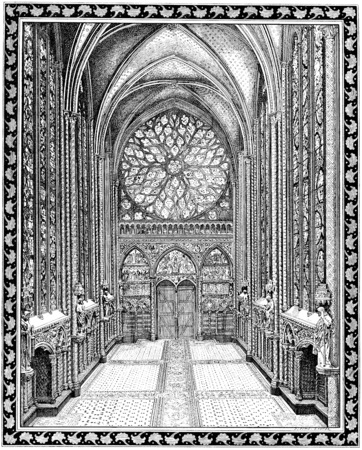 church interior: Upper chapel of the Sainte-Chapelle, vintage engraved illustration. Paris - Auguste VITU – 1890.