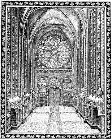 chapel: Upper chapel of the Sainte-Chapelle, vintage engraved illustration. Paris - Auguste VITU – 1890.