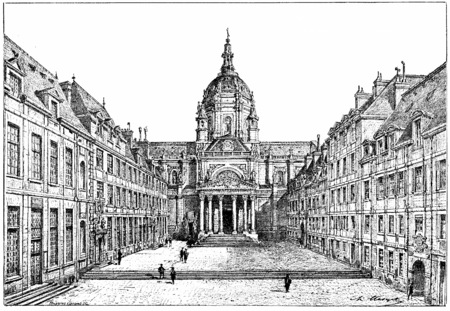 the courtyard: The courtyard of the Sorbonne, vintage engraved illustration. Paris - Auguste VITU – 1890.