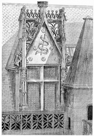 ホテル ・ ド ・ クリュニー、ビンテージの刻まれたイラストのコーナー。パリ - オーギュスト ・ ヴィトゥ-1890。 写真素材