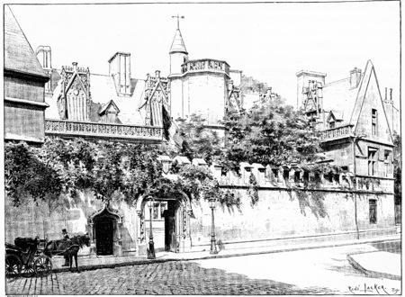horse cart: Entrance of the Hotel de Cluny, street Sommerard, vintage engraved illustration. Paris - Auguste VITU – 1890.