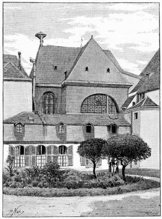 Hospice van het moederschap (voormalige abdij van Port-Royal), vintage gegraveerde illustratie. Parijs - Auguste VITU - 1890.