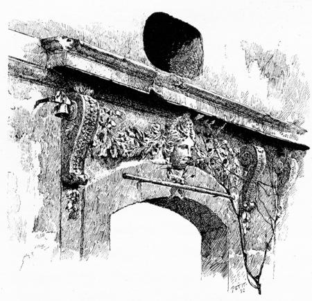 former: Sculpture of the former hunting lodge, vintage engraved illustration. Paris - Auguste VITU – 1890. Stock Photo