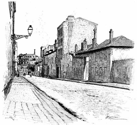 street lamp: Street of Champ-de-Alouette, vintage engraved illustration. Paris - Auguste VITU – 1890. Stock Photo