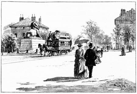 carriages: Place Denfert-Rochereau, vintage engraved illustration. Paris - Auguste VITU – 1890.