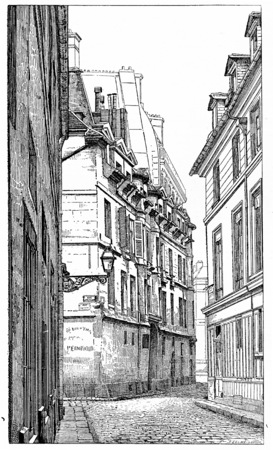 intersection: Intersection of Rue Hautefeuille and Snaking street, vintage engraved illustration. Paris - Auguste VITU – 1890.