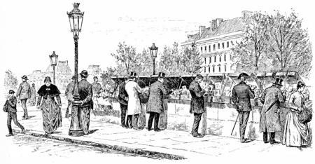 dock: the dock Saint Michel at Pier Voltaire: booksellers, vintage engraved illustration. Paris - Auguste VITU – 1890.