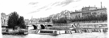 pont: The Pont Neuf, the sluice and currency, vintage engraved illustration. Paris - Auguste VITU – 1890.