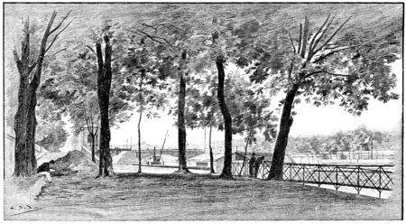 footbridge: The Seine to the left bank upstream from the bridge of Solferino, vintage engraved illustration. Paris - Auguste VITU – 1890. Stock Photo