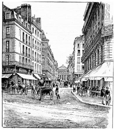 carrefour: Carrefour and rue de lOdeon, vintage engraved illustration. Paris - Auguste VITU – 1890.