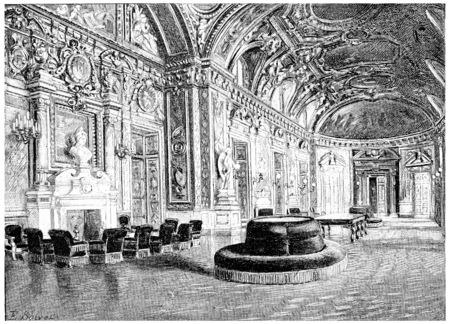 Le hall, illustration vintage gravé. Paris - Auguste VITU - 1890. Banque d'images