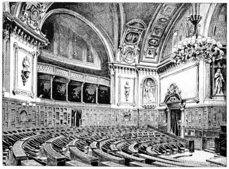 senate: Senate Chamber, vintage engraved illustration. Paris - Auguste VITU – 1890. Stock Photo