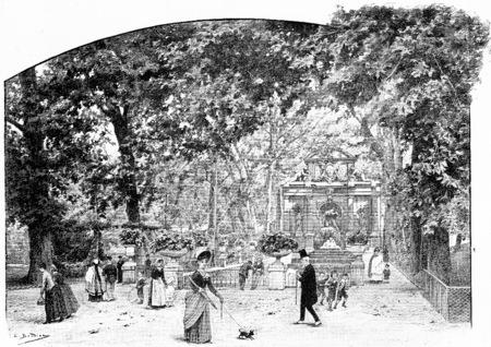 marie: Cave and fountain of Marie de Medici, vintage engraved illustration. Paris - Auguste VITU – 1890.