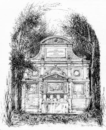 medici: Back of the Medici Fountain, vintage engraved illustration. Paris - Auguste VITU – 1890.