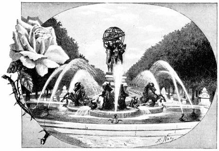 garden fountain: Fountain Fremiet and Carpeaux, vintage engraved illustration. Paris - Auguste VITU – 1890.