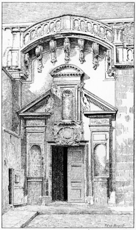 The side gate of St. Germain de Pres, vintage engraved illustration. Paris - Auguste VITU – 1890.