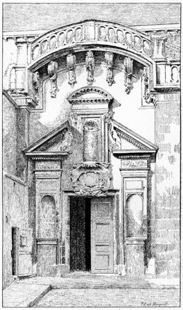 pres: The side gate of St. Germain de Pres, vintage engraved illustration. Paris - Auguste VITU – 1890.