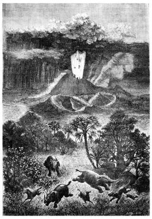 中新世の期間の間にフランスの火山、ヴィンテージには、図が刻まれています。男-1886 前に地球。