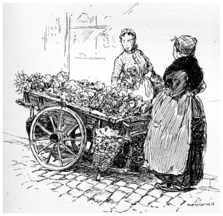 retailers: Hawker, vintage engraved illustration. Paris - Auguste VITU – 1890.
