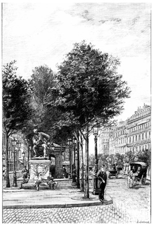boulevard: Statue Diderot on the Boulevard Saint-Germain in front of the rue Saint-Benoit, vintage engraved illustration. Paris - Auguste VITU – 1890.