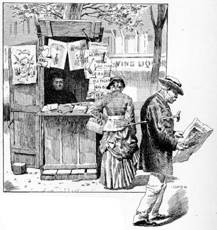 seller: Newspaper seller in a suburb of Paris, vintage engraved illustration. Paris - Auguste VITU – 1890.