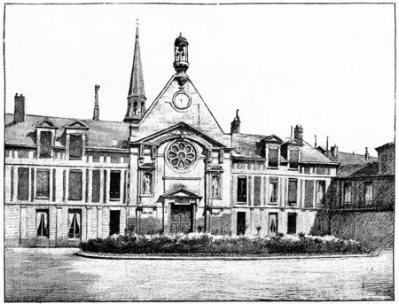 hospice: Laennec Hospital (former hospice for Incurables), vintage engraved illustration. Paris - Auguste VITU – 1890.