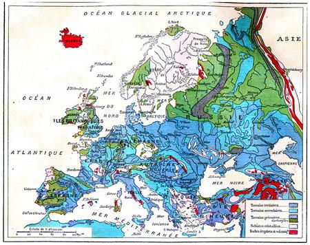 Geological map of Europe, vintage engraved illustration. Earth before man – 1886.