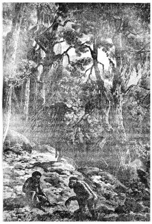 epoch: Abitanti di Grecia, Svizzera, in Provenza, nei primi secoli del Pliocene, illustrazione d'epoca inciso. Terra prima che l'uomo - 1886.