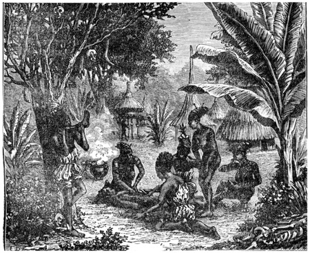 cannibal: Cannibals of Central Africa in 1870, vintage engraved illustration. Earth before man – 1886.