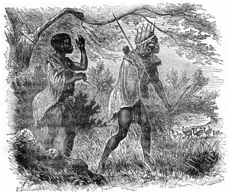 african tribe: Bushmen hunting, vintage engraved illustration. Earth before man – 1886. Stock Photo