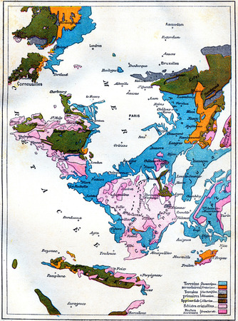jurassic: Map of gradual formation of land, vintage engraved illustration. Earth before man – 1886. Stock Photo