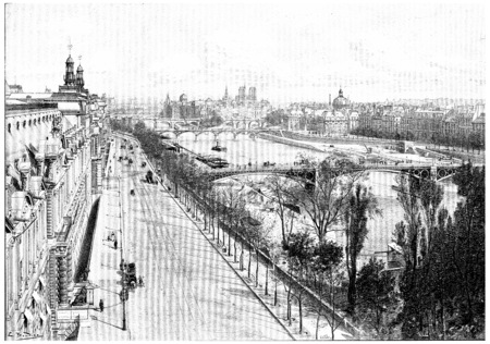 Panorama taken from the pavilion flora, vintage engraved illustration. Paris - Auguste VITU – 1890. illustration