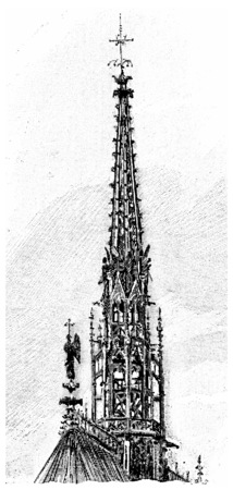 spire: Spire of the Sainte-Chapelle, vintage engraved illustration. Paris - Auguste VITU – 1890.