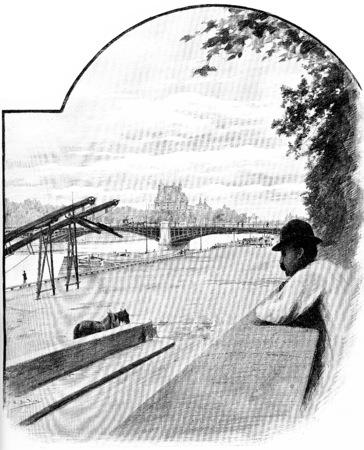 Pont de Solferino and Pavillon de Flore, seen from the Quai dOrsay, vintage engraved illustration. Paris - Auguste VITU – 1890.
