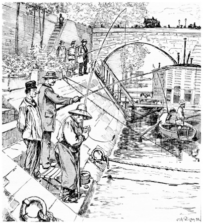 river bank: Bord de Seine, vintage engraved illustration. Paris - Auguste VITU – 1890.