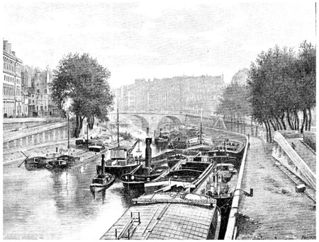 seine: Small arm of the Seine between the City and the Quai des Augustins, vintage engraved illustration. Paris - Auguste VITU – 1890. Stock Photo