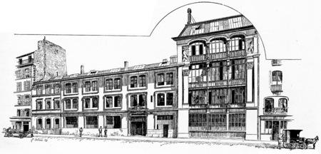 printing house: Printing bookstore Quantin House, vintage engraved illustration. Paris - Auguste VITU – 1890.