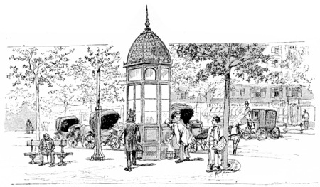 instead: Station car instead, vintage engraved illustration. Paris - Auguste VITU – 1890.