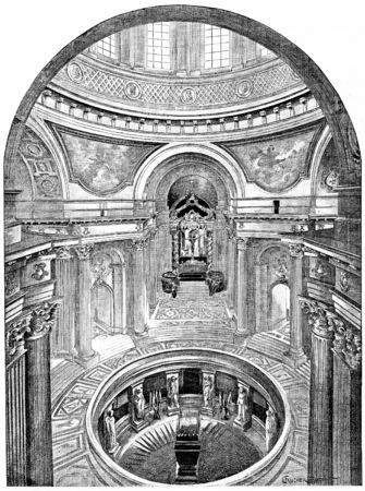 Tomb of Napoleon 1st, vintage engraved illustration. Paris - Auguste VITU – 1890.