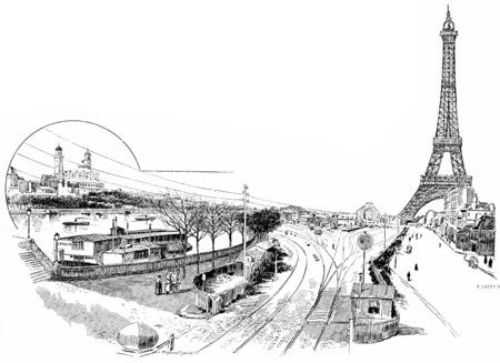 Gare du Champ de Mars or Champ de Mars – Tour Eiffel, vintage engraved illustration. Paris - Auguste VITU – 1890.
