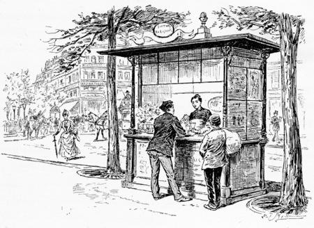 buffet: Parisian boulevards buffet, vintage engraved illustration. Paris - Auguste VITU – 1890.