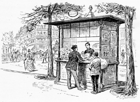 Parisian boulevards buffet, vintage engraved illustration. Paris - Auguste VITU – 1890.
