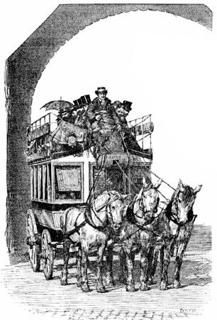 Omnibus with triple coupling, vintage engraved illustration. Paris - Auguste VITU – 1890.