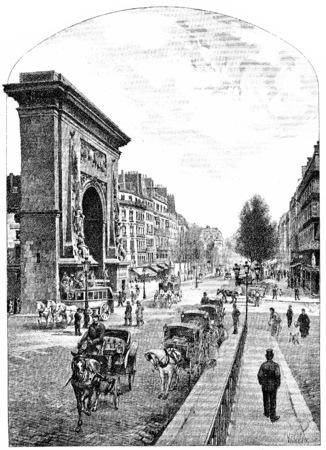 Boulevard and Porte Saint Denis, vintage engraved illustration. Paris - Auguste VITU – 1890. illustration