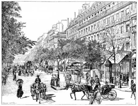 boulevard: Boulevard Montmartre, vintage engraved illustration. Paris - Auguste VITU – 1890.